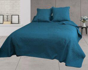 Couvre-lit Uni + 2 Taies 2 Personnes - Bleu