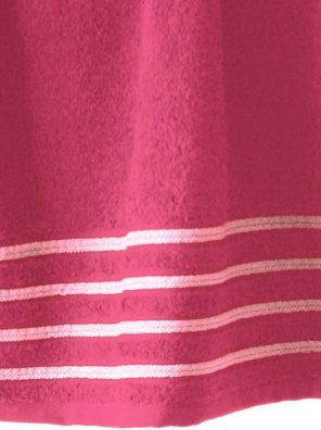 Lot de 2 Draps de Bain 100% Coton - 550 gr/m2 - Fuschia Blanc