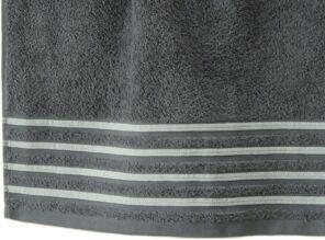 Lot de 2 Draps de Bain 100% Coton - 550 gr/m2 - Gris Blanc