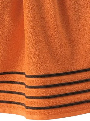 Lot de 2 Draps de Bain 100% Coton - 550 gr/m2 - Orange Choco