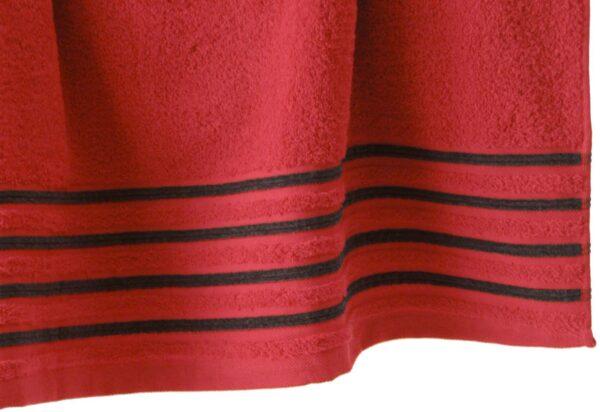 Lot de 2 Draps de Bain 100% Coton - 550 gr/m2 - Rouge Noir