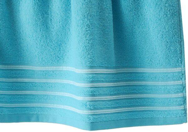 Lot de 2 Draps de Bain 100% Coton - 550 gr/m2 - Turquoise Blanc