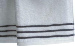 Lot de 2 Serviettes de Toilette 100% Coton - 550 gr/m2 - Blanc Gris