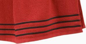 Lot de 2 Serviettes de Toilette 100% Coton - 550 gr/m2 - Rouge Noir