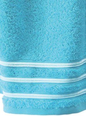 Lot de 2 Serviettes de Toilette 100% Coton - 550 gr/m2 - Turquoise Blanc